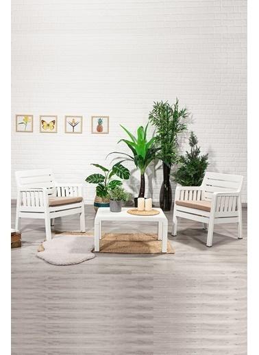 Sandalie Lara 1+1+S Balkon&Teras&Bahçe Mobilyası / Beyaz Beyaz